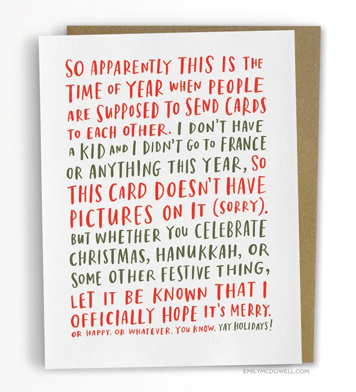 Awkward Holiday card, funny holiday card, Emily McDowel