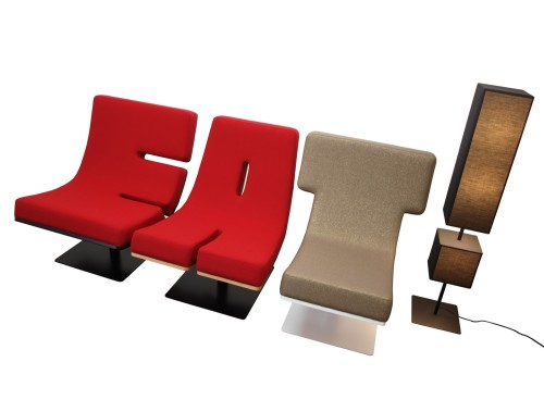 EAT - Tabisso Typographia lounge-chairs and punctuation floor lamps