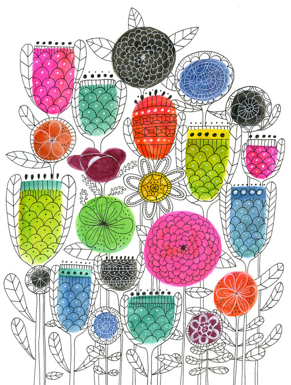 Spring Blossoms art print, Lisa Congdon