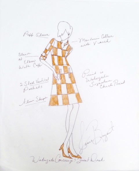 Sketch for Watergate hotel staff uniforms