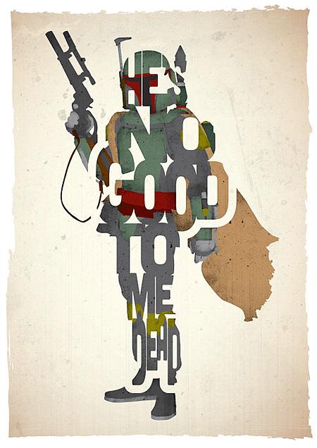 bobba fet typographic movie posters