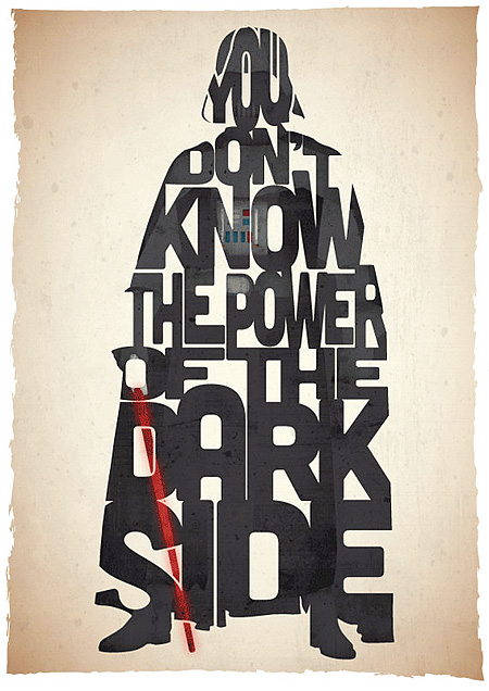 darth vader typographic movie posters Pete Ware