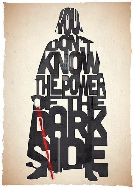 darth vader typographic movie posters Pete Ware