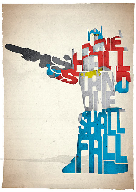 Optimus Prime typographic movie posters Pete Ware