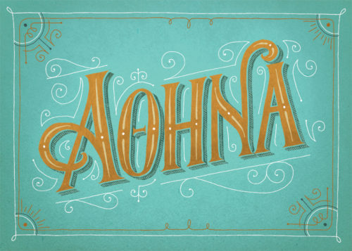 athens postcards victorian, seta zakian, hand lettering, lettering design, retro lettering