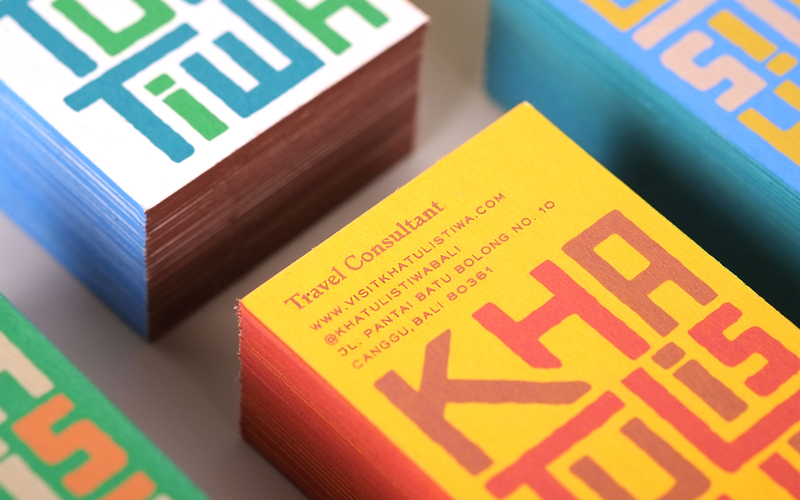 Colorful business cards setaprint an archive for visual inspiration colorful business cards screen printed cards travel consultants colourmoves