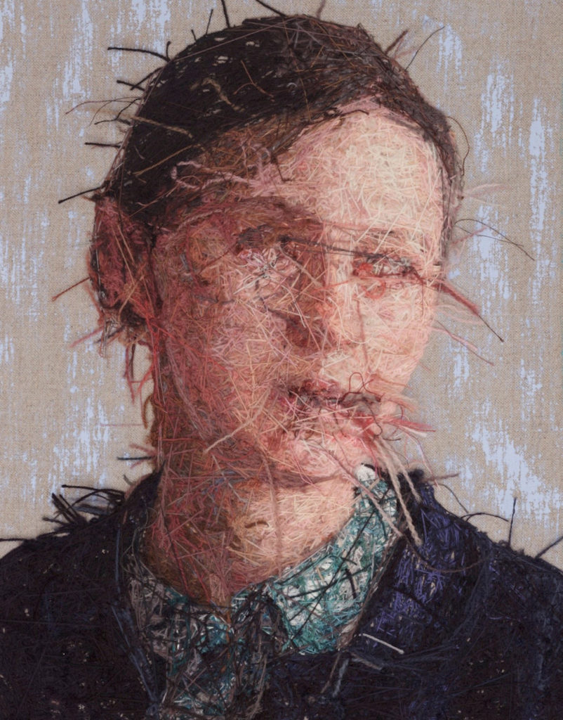 Embroidered portraits by Cayce Zavaglia, reverse
