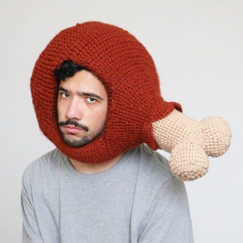 Phil Ferguson, crocheted food hats, chicken leg