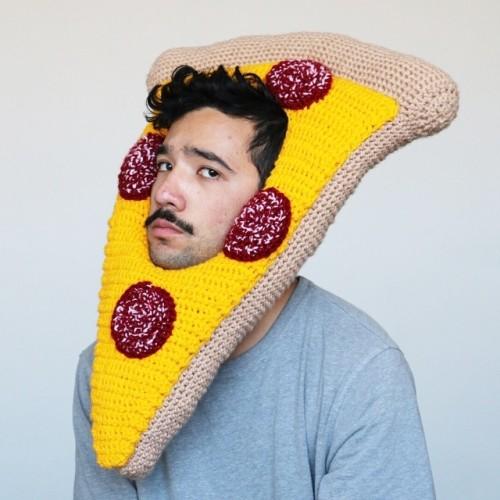 Phil Ferguson, crocheted food hats, pizza