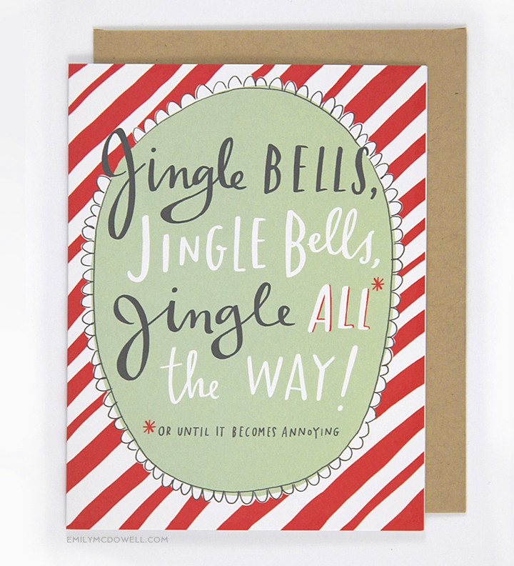 Jingle Bells, funny holiday card, Emily McDowel