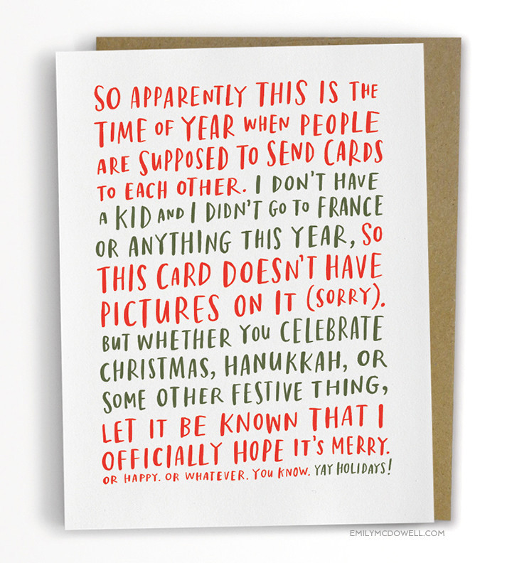 Awkward Holiday card, funny holiday card, Emily McDowel