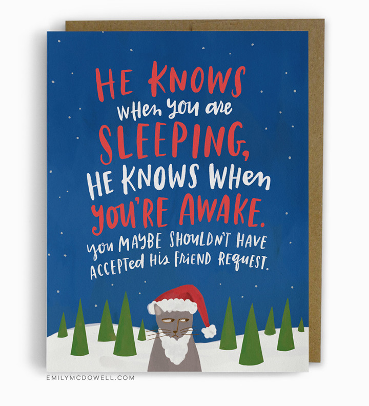 He knows, funny holiday card, Emily McDowel