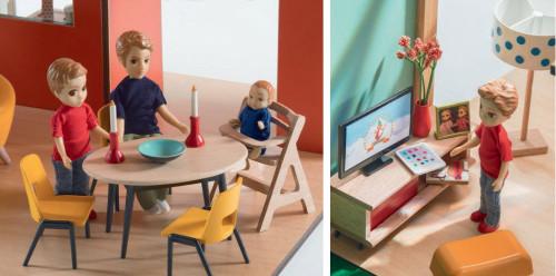 Djeco dollhouse interior, dining, TV room