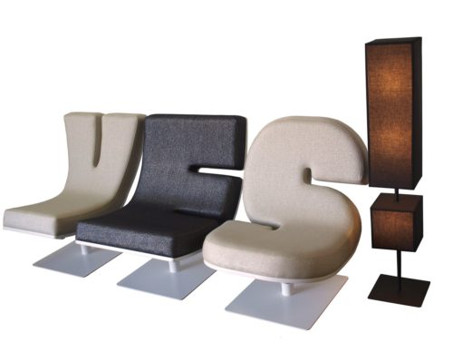 YES - Tabisso Typographia lounge-chairs and punctuation floor lamps