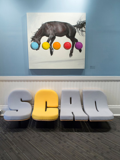 SCAD - Tabisso Typographia lounge-chairs and punctuation floor lamps