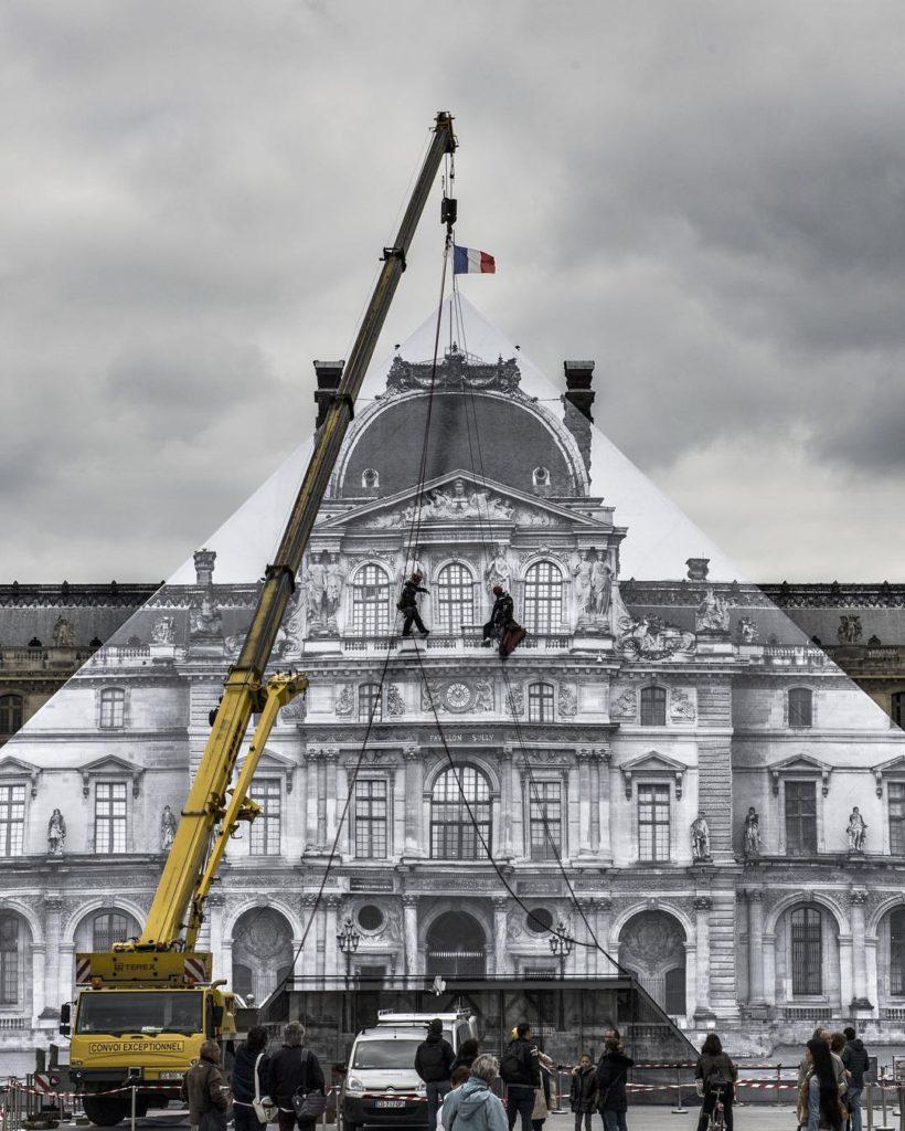 JR au Louvre - preparations