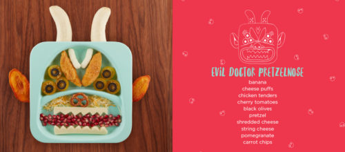 FOOD FACES: evil doctor pretzelnose spread Day Dreamers Limited