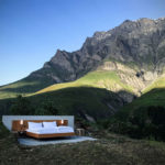 An open-air hotel room in the Alps