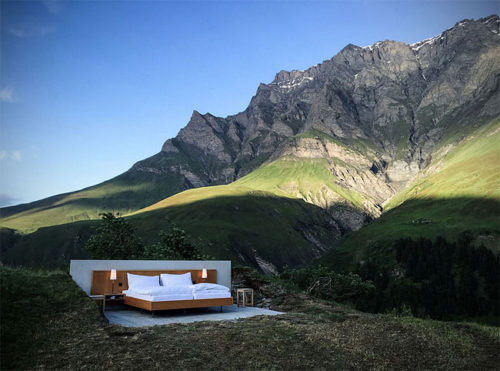 Open-air hotel room