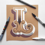 Hand painted letters on kraft paper by James Lewis