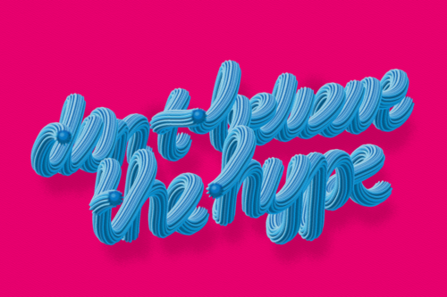 DONE BELIEVE THE HYPE, typography by Pat Simmons