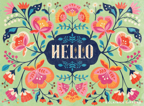 clairice gifford Hello, flower and lettering design
