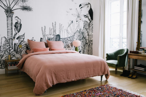 Bedroom of a Paris apartment, Morgane Sézalory, wallpaper