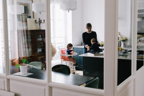 Open kitchen of a Paris apartment, Morgane Sézalory, separated by glass