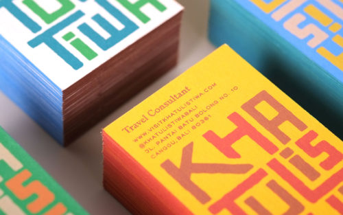 colorful business cards, screen-printed cards, travel consultants