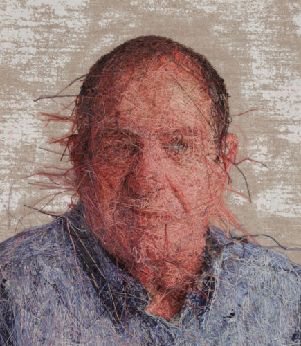 Embroidered portraits by Cayce Zavaglia, reverse side